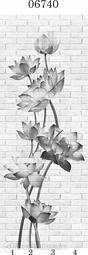 Стеновая панель ПВХ Panda Цветочные узоры 06740 (матовые)