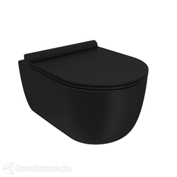 Унитаз подвесной BERGES EGO Black Rimless 49 см с сиденьем Toma Black Slim SO микролифт быстросъём
