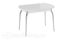 Стол обеденный раздвижной со стеклом Рио (Белый/Стекло белый глянец) ТР
