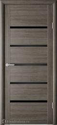 Межкомнатная дверь Фрегат (ALBERO) Вена серый кедр, стекло черное