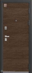 Дверь входная металлическая Центурион LUX-8 Черный шелк+дуб гладстоун табак/орех премиум+темное стекло