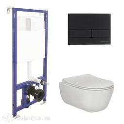 Система инсталляции BERGES NOVUM525, кнопка L5 SoftTouch черная, унитаз EGO Rimless, сиденье Toma Slim SO 047215