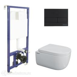 Система инсталляции BERGES NOVUM525, кнопка L5 Soft Touch черная, унитаз EGO Rimless, сиденье Toma SO 043232