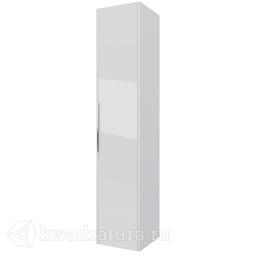Пенал Dreja PRIME 35, подвесной/напольный, универсальный, 1 дверца, 4 стеклянные полки, белый глянец