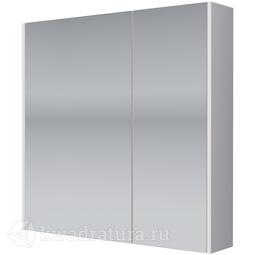 Зеркало-шкаф Dreja PRIME 70, 2 дверцы, 2 стеклянные полки, белый