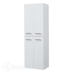 Пенал Dreja 50 см, подвесной/напольный, универсальный, 4 дверцы, 4 стеклянные полки, белый глянец 77.0301W