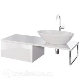 Тумба-столешница Dreja BOX + LINE 120 с умывальником MyJoys Триумф, 1 ящик, столешница стекло, белый