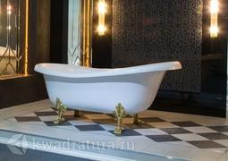 Каменная ванна Aqua de Marco Эдельвейс 170*82,7 белая с золотыми ножками