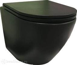 Унитаз подвесной GROSSMAN GR-4455BMS сиденье дюропласт, микролифт, 490*360*350, чёрный матовый