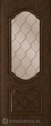 Межкомнатная дверь Румакс Экстра Каштан СТ сатинат бронза с гравировкой