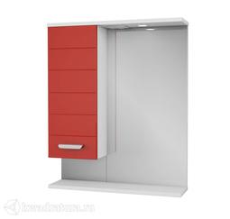 Зеркало PAOLA Таис 60 красный с подсветкой, шкаф слева