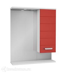 Зеркало PAOLA Таис 60 красный с подсветкой, шкаф справа