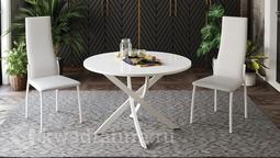 Стол обеденный Diamond Тип 2 Белый муар/Белый глянец ТР