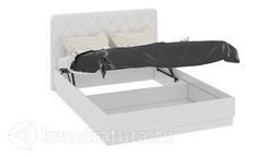 Кровать с подъемным механизмом и мягким изголовьем «Амели» (Белый глянец) без матраса ТР