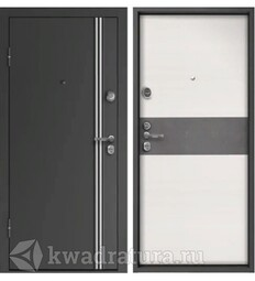 Дверь входная металлическая Falko Конструктор М-10 Графит/Элеганс Белый ясень бетон темный