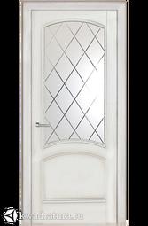 """Межкомнатная дверь Луидор Криста Лайт ясень айсберг с/о белое гравировка """"Готика"""""""