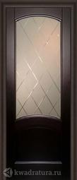 """Межкомнатная дверь Луидор Криста Лайт тонированный черный дуб с/о белое гравировка """"Готика"""""""