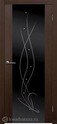 Межкомнатная дверь Матадор Крокус венге люкс стекло черное