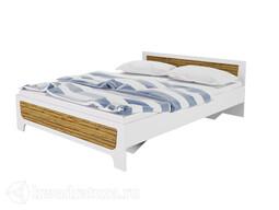 Кровать ГОРИЗОНТ Милана 1600 2-спальная с ортопедическим основанием (Белый/Сосна гранд)