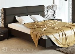 Двуспальная кровать с подъемным механизмом и мягким изголовьем «Наоми» (Фон серый, Джут) без матраса ТР