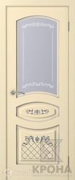 Межкомнатная дверь Крона Прованс 1 Эмаль слоновая кость Стекло патина серебро