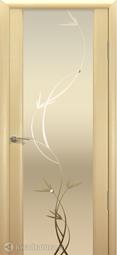 Межкомнатная дверь Океан Шторм-3 с/о белое Растение Беленый дуб