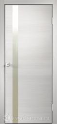 Межкомнатная дверь Velldoris (Веллдорис) Техно Z1 с замком дуб белый поперечный зеркало матовое