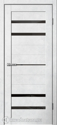 Дверь межкомнатная Сибирь Профиль Barn B3 бетон светлый СТ лакобель черное