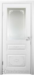Межкомнатная дверь ДвериХолл Эмилия Эмаль, Белый, со стеклом