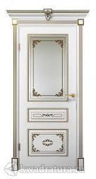Межкомнатная дверь ДвериХолл Эмилия Эмаль, Белый с патиной золото, со стеклом